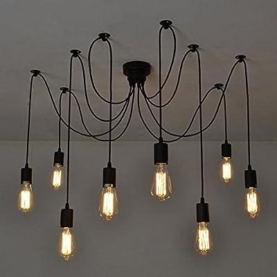 Fuloon Vintage Edison Multiple Ajustable DIY Ceiling Spider Lamp Light Pendant Lighting Chandelier Modern Chic Industrial Dining