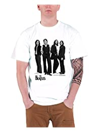 The Beatles Mens T Shirt White Standing Iconic Image band logo Official