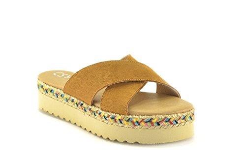 by piel de CSY 13024 modelo y Beige de en Arena Camel Mujer Sandalia color Sandalia Azul aWRn1wd0wq