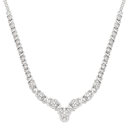 JewelExclusive Sterling Silver 1 2 CTTW Diamond Oval X O 17 Necklace