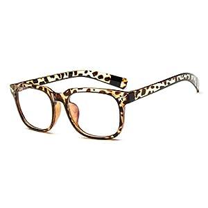 LOMOL Girls Retro Lovely Personality Student Style Transparent Lens Wayfarer Frame Glasses(C4)