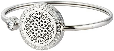 Jenia Aromatherapy Essential Oil Diffuser Bracelet Stainless Steel Locket Crystal Bangle with 8 Pads