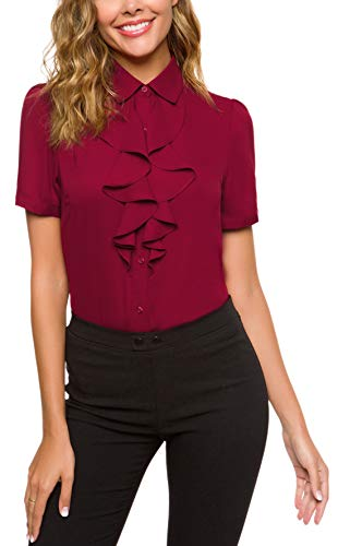 ACONIYA Womens Vintage Long/Short Sleeve Lotus Ruffled Casual Work Shirt Chiffon Blouse Tops (L, Wine - Frill Chiffon