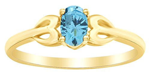 (AFFY Oval Shape Simulated Blue Aquamarine Side Heart Solitaire Ring in 14k Yellow Gold Over Sterling Silver Ring Size : 9.5)