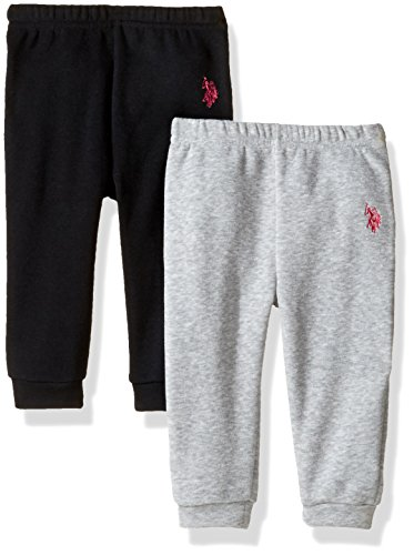 U.S. Polo Assn. Baby Girls' 2 Pack Ruffle Back Jogger Pants