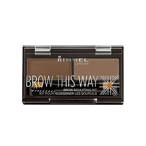 Rimmel Brow This Way Sculpting Kit, Medium Brown, Powder 0.04 oz., Wax 0.03 Oz, Brow Sculpting & Styling Kit with Eyebrow Wax & Setting Powder (Best Drugstore Brow Kit)