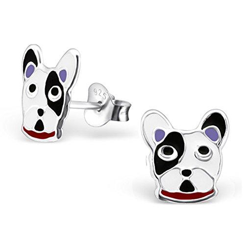 Cute Bulldog Dog Earrings Stering Silver 925 (E21841) (Ring Sterling Silver Bulldog)
