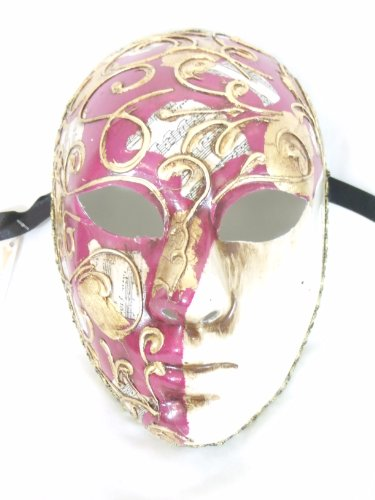 Dark Pink Volto Beethoven Venetian Masquerade Mask -