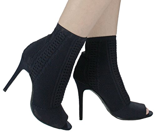 Women Royals Sleek Slip On Stretch-Knit Peep-Toe Stiletto Sock Ankle High Heel Bootie