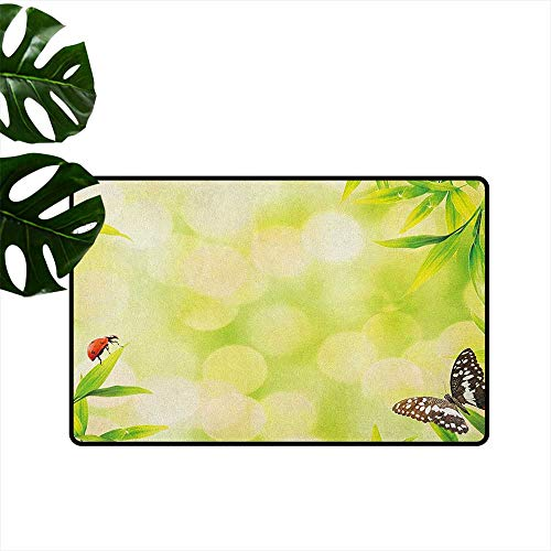 "RenteriaDecor Plant,Carpet Flooring Ladybug and a Butterfly Standing on a Bamboo Leaves Bokeh Background 18""x60"",Outdoor mats"