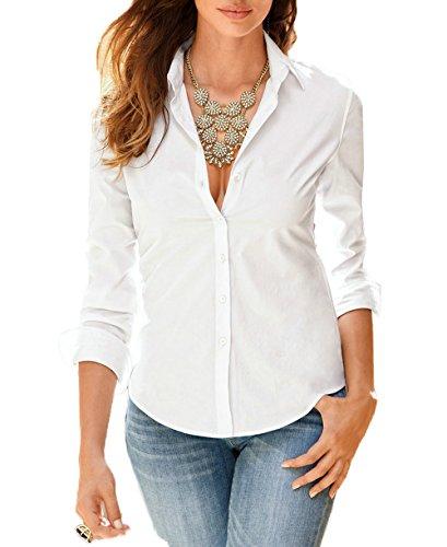 Shirt Couleur Svelte Chemisiers Blouse t Unie Revers Tops Longues Shirts T JackenLOVE Femme avec Fashion Bouton Manches Blanc f10wwq