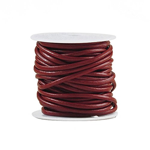 (10m Leather Cord Color Wine Red Size 3x3mm)