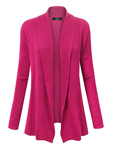 WSK904 Womens Open Front Draped Knit Shawl Cardigan M Magenta (Trim Knit Sweater)