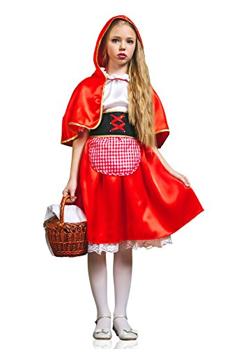 Kids Girls Little Red Riding Hood Costume Fairy Tale & Birthday Party Dress Up (3-6 years, Red/White)