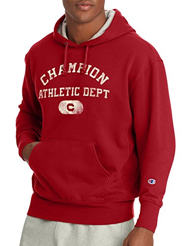 Champion Men's Heritage Fleece Pullover Hoodie, Fire Roasted Red Athletics Dept, XL