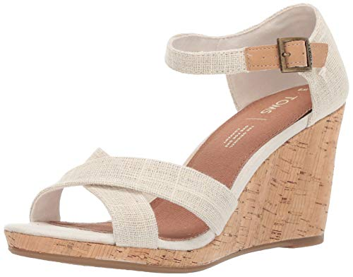 TOMS Women's Sienna Espadrille Wedge Sandal, Natural Metallic Slubby Woven, 7.5 B Medium US