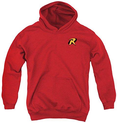 New Batman Costume Affleck (Youth Hoodie: Batman - Robin Logo Pullover Hoodie Size YXL)