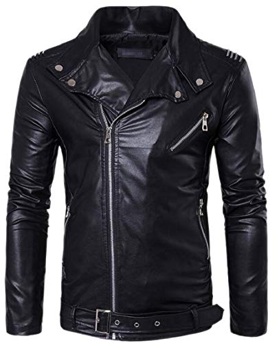 Turn Gocgt Windproof Leather PU Men Faux Jacket Down Moto Black Collar tqratRB1