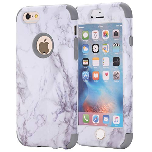 iPhone 6S Case, iPhone 6 Case, AOKER [Marble Design] Slim Dual Layer Anti-Scratch ShockProof Clear Bumper Matte TPU Soft Rubber Silicone Protective Case Fit for Apple iPhone 6/6S 4.7 inch (Grey)