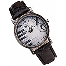 megko Vintage Piano Music Note Analog Bronze Watch with Black Leather Strap