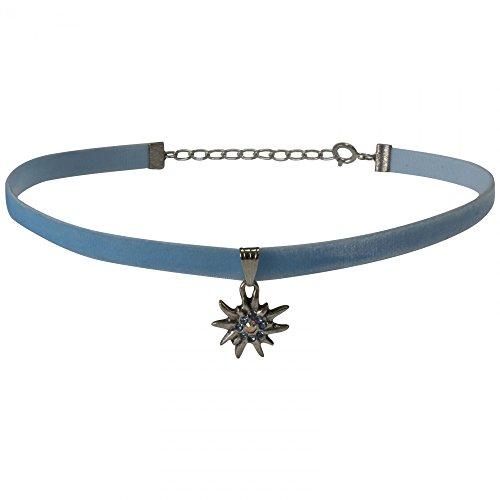 Dirndl Kropfband Trachten Kette Dirndlkette Trachtenkette Edelweiß Kropfkette, Farbe:hellblau