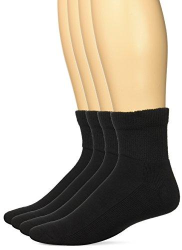 Non Binding Quarter Sock (Top Flite Men's Diabetic Non-Binding Quarter Socks 2 Pack, Black, Medium)