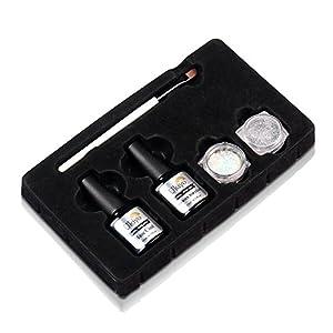 Ukiyo Gel Nail Polish Base Coat and No Wipe Top Coat Set with 2PCS Glitter Chrome Powder Holographic Laser Nail Art Gift Set