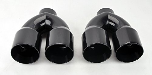 Dual 4.0 Quad Style Gloss Black Exhaust Tips for Chevy Corvette C6 05-13