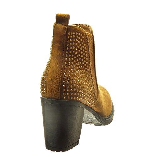 Chelsea 7 Blocco Strass Scarponcini Scarpe Alto Moda Cm Donna Boots Tacco Cammello Angkorly A Stivaletti RvC7qnwnI