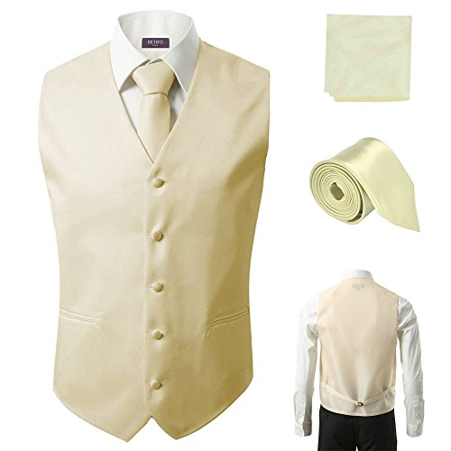 3 Pcs Vest + Tie + Hankie Men's Fashion Formal Dress Suit Slim Tuxedo Waistcoat Coat (Small, (Ivory Tuxedo Vest)