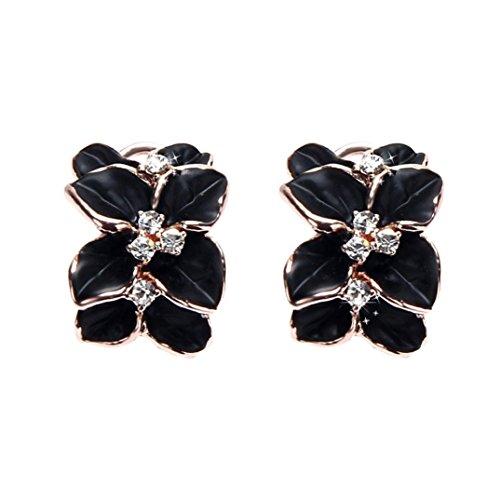 DDLBiz Rhinestone Luxury Women Floral Wedding Party Earring Ear Stud (Rhinestone Floral Clip Earrings)
