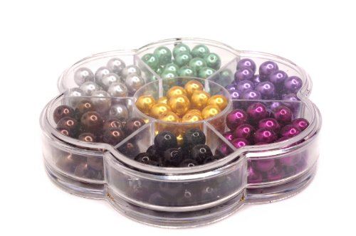 Jewelry Making Color Glass Pearl Pearlescent Beads Box Set B, 8mm Round, 168 Pcs Crystal Shamballa String Bracelet