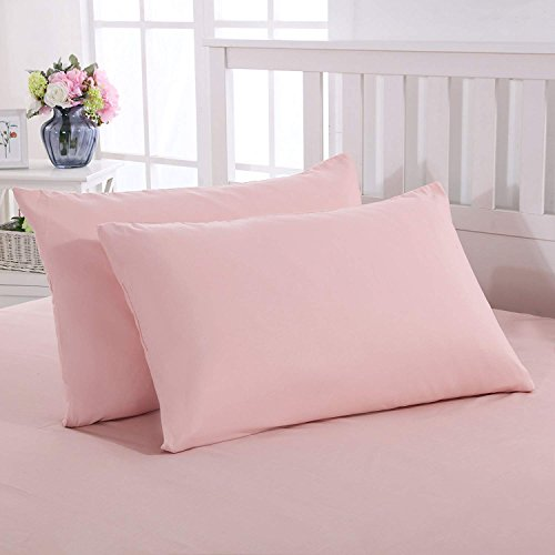 Mohap Zippered Pillowcases Queen Pink Soft and Durable Brushed Microfiber 1800 Plush Experience Machine Washable Pack of 2 ()
