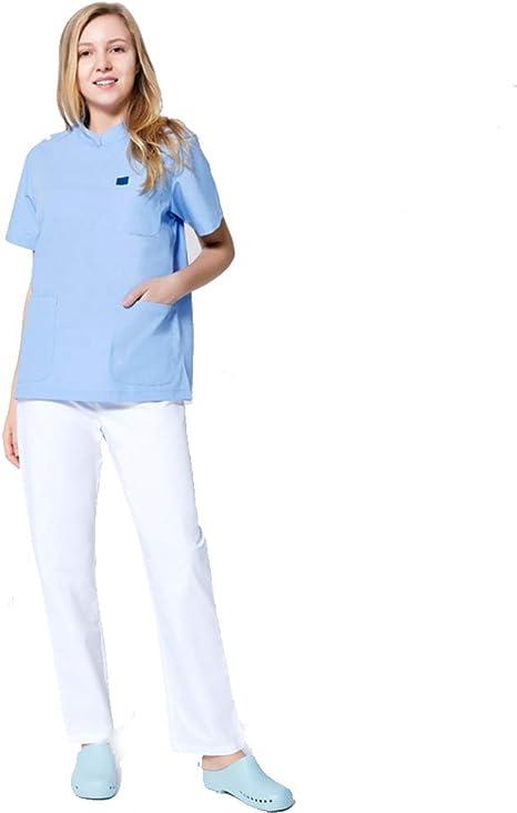 R&R Unisex V Cuello V Uniforme Enfermera médica Uniforme hospitalario Uniforme Camisa Azul y Pantalones Blancos,XXL: Amazon.es: Deportes y aire libre