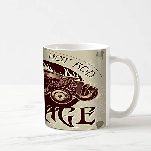 Ahawoso Coffee Tea Mug 11 Ounces Speed American Hot Rod Garage Vehicle Vintage Antique Auto Car Classic Design 11Oz Ceramic Tea Cups Gift Great Boss Coworker Friend Present ()