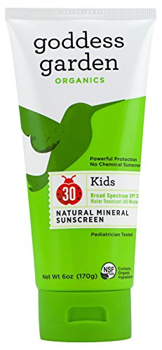 Goddess Garden Organics SPF 30 Kids Natural Mineral Sunscreen Lotion for Sensitive Skin (6 oz. Tube) Reef Safe, Water Resistant, Vegan, Leaping Bunny Certified Cruelty-Free, (Goddess Garden Natural Sunscreen)
