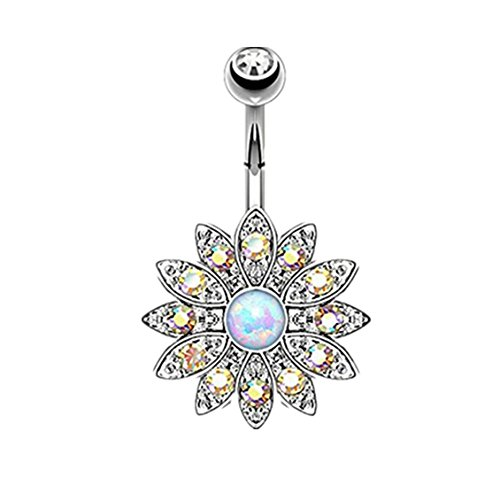 Dolland Womens Belly Button Rings Dangle Flower Opal Jeweled Navel Surgical Steel Body Piercing Jewelry,Steel Color Diamond