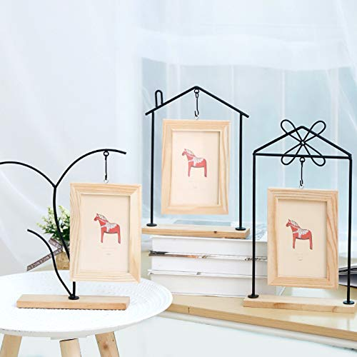 Huhgue Photo Frame Approx.9×14cm Classic Photo Frame Iron Art Poster Frame for Home Decoration (Wood Color)