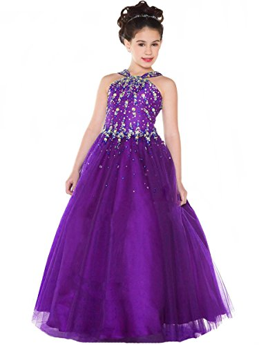 Aisha Girls' Beads Pageant Dresses V Neck Birthday Party Ball Gown 6 US Purple (Ball V-neck Gown)