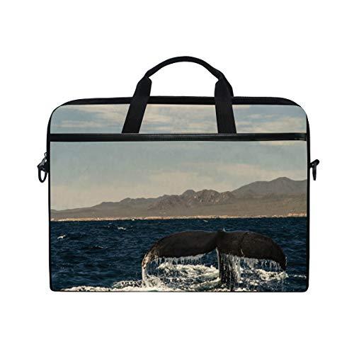 Whale Tail 14-15 inch Laptop Case Computer Shoulder Bag Notebook Tablet Crossbody Briefcase Messenger Sleeve Handbag with Shoulder Strap Handle for Women Men Girls Boys