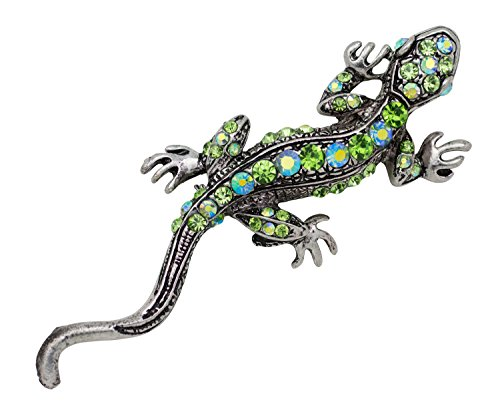 Akianna Antique Silver-Tone Crystals Green Lizard Pin Brooch
