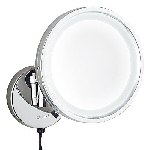 GURUN 8.5-Inch Adjustable LED Lighted Wall Mount Makeup M...
