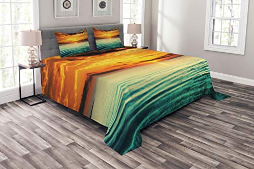 Lunarable Ocean Bedspread, Sunset at Bay Small Boat at a Distance Tranquil Sea Slightly Surges Image, Decorative Quilted 3 Piece Coverlet Set with 2 Pillow Shams, King Size, Orange Green