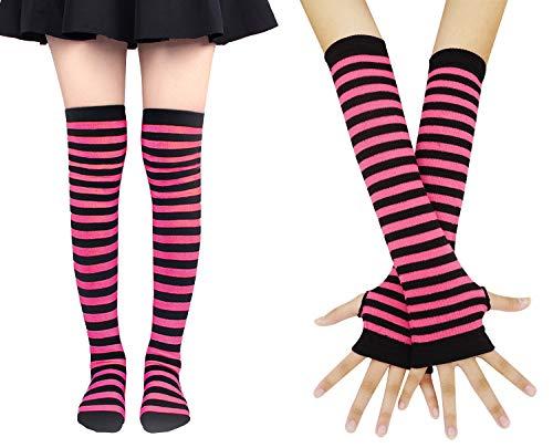 (Bienvenu Women Stretch Striped Socks Knee High Stockings Long Arm Warmer Fingerless Mitten Gloves,Glove Sock Set_Fuchsia)