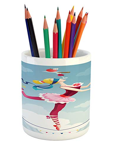 Ambesonne Circus Pencil Pen Holder, Graphic Circus Performer Woman Juggling with Balls Standing on Wire as Blindfolded, Printed Ceramic Pencil Pen Holder for Desk Office Accessory, Multicolor