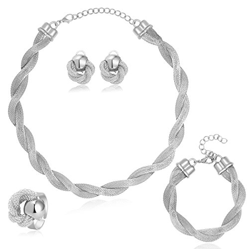 MOOCHI Africa Style Gold Plated Necklace Earrings Bracelet Ring Jewelry Set (Gray)