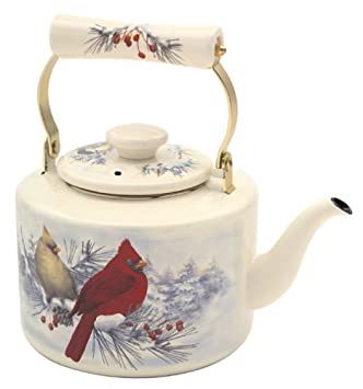 Lenox Winter Greetings Scenic Enamel Tea Kettle