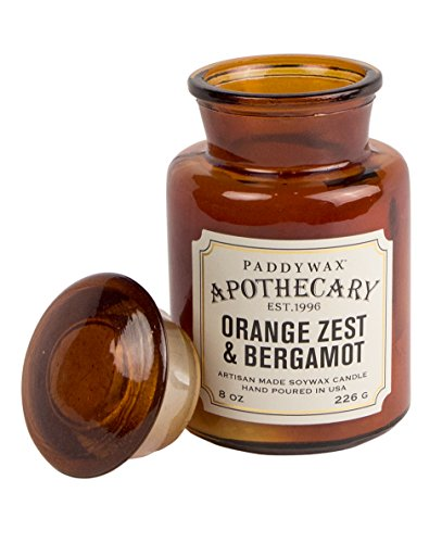 Jar Candle Wax Candle - Paddywax Apothecary Collection Scented Soy Wax Jar Candle, 8-Ounce, Orange Zest & Bergamot