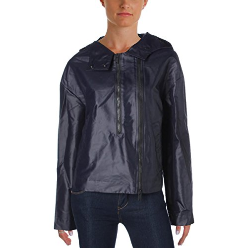 DKNY Womens Nylon Hooded Basic Jacket Navy L