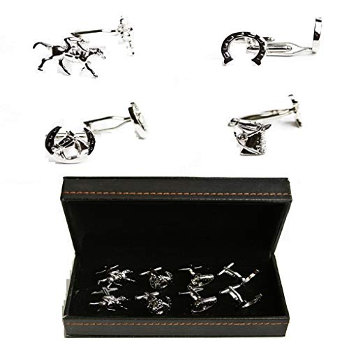 MRCUFF Horse Jockey Horseshoe Bridle 4 Pairs Cufflinks in a Presentation Gift Box & Polishing Cloth